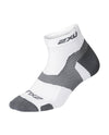 Vectr Light Cush 1/4 Crew Sock - White/Grey