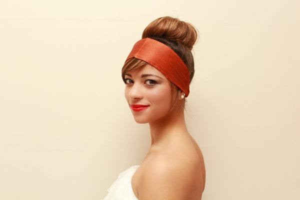 1213. Silk Burnt Orange Headband (Soft)