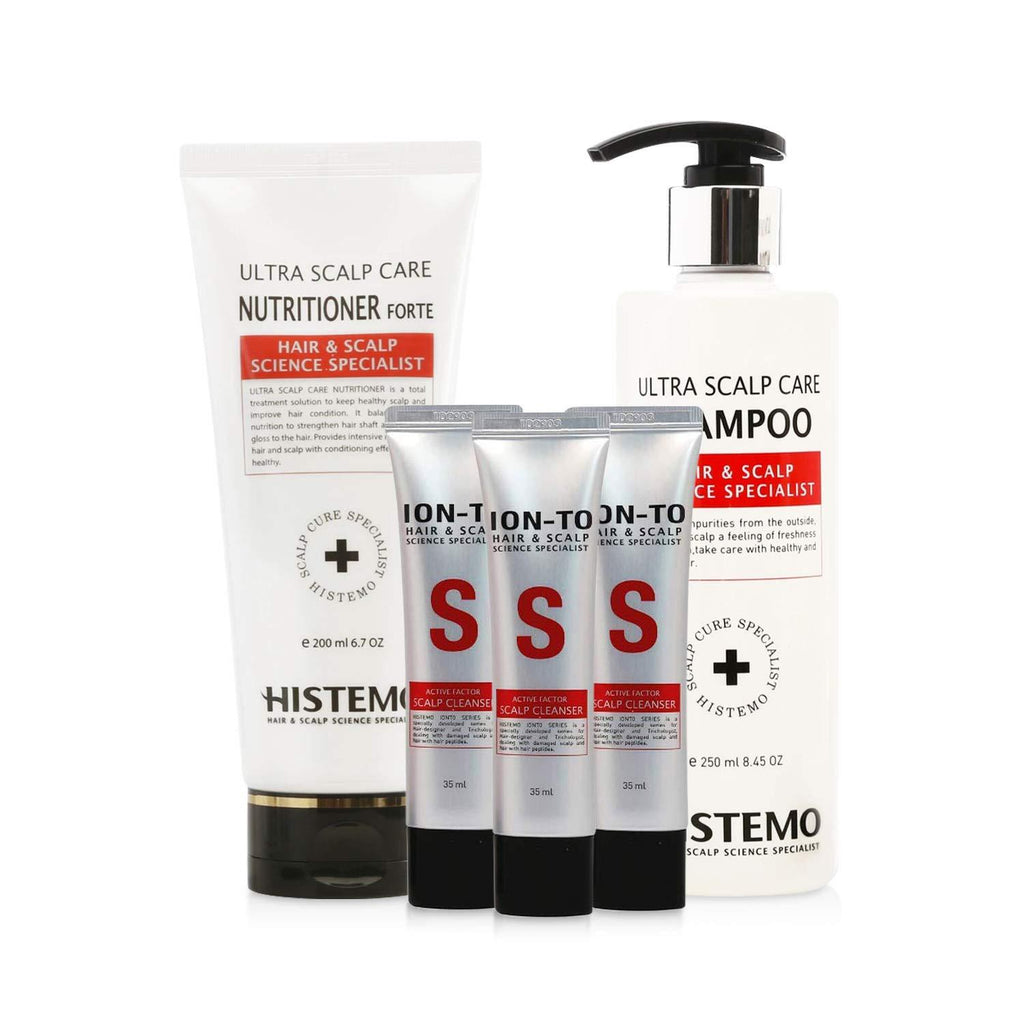 Scalp Care & Hair Loss Prevention Kit w Scalp Detox Cleanser, Shampoo, Conditioner | Oily, Itchy Scalp, Dry Flakes | Promote Hair Growth w Biotin | Prevent Hair Loss | Men & Women | Histemo