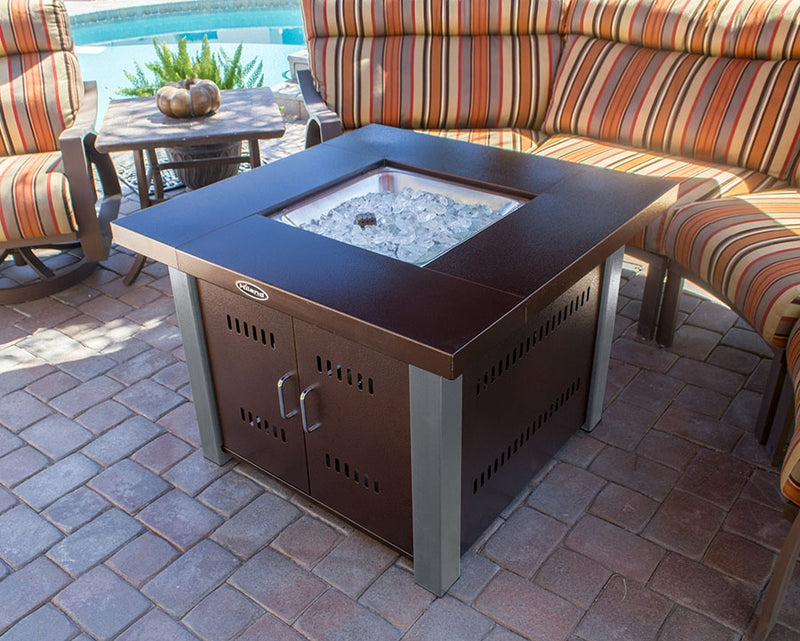 Outdoor Fire Table in Hammered Bronze and Stainless Steel