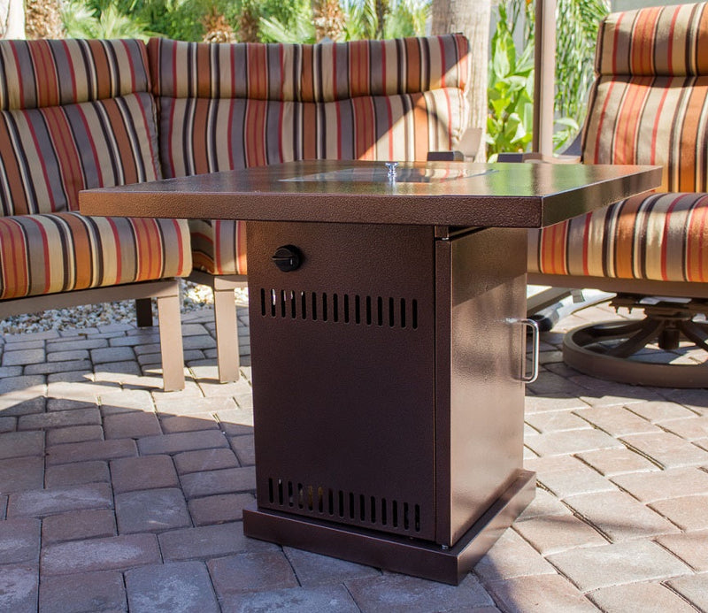 "Outdoor 30"" Conventional Propane Fire Pit Table in Hammered Bronze"