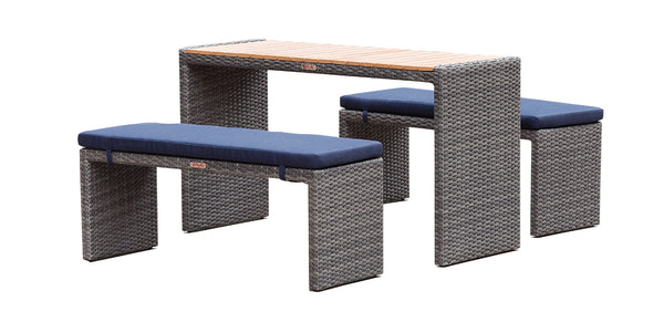 Palma - 3 Piece Bistro Set - Grey Wicker