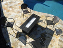 Rectangular Black Mocha Fire Pit With Wind Screen table