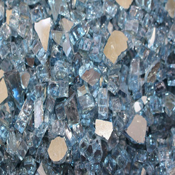 Reflective Fire Pit Fire Glass in Sky Blue