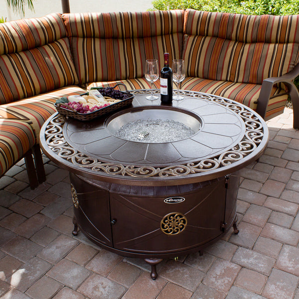 Outdoor Aluminum Propane Fire Pit Table with Scroll Design