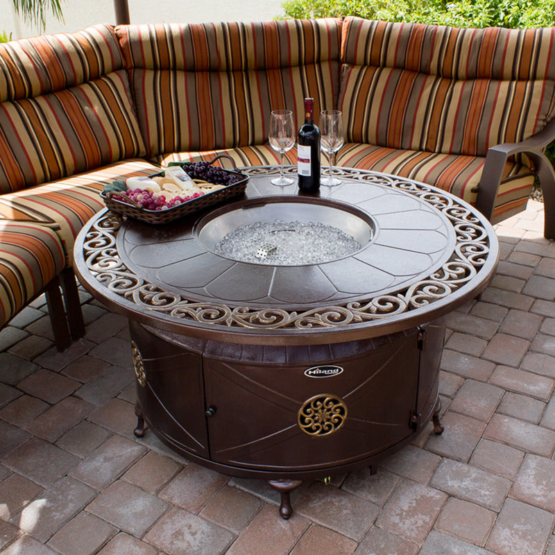 Outdoor Cast Aluminum Propane Fire Pit Table with Lid