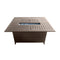 Outdoor Aluminum Rectangular Fire Pit Table in Hammered Bronze