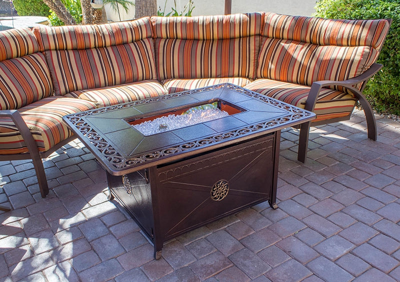 Outdoor Propane Aluminum Fire Pit Table with Scroll Design