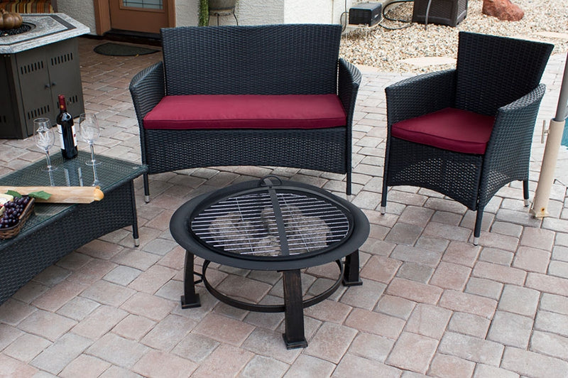 "30"" Wood Burning Fire Pit with Cooking Grate"