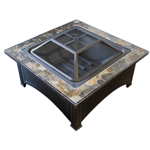"36"" SQUARE SLATE TOP WOOD BURNING FIREPIT-POKER"