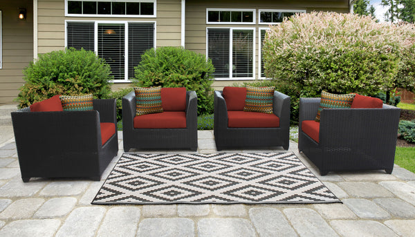 Barbados 4 Piece Outdoor Wicker Patio Furniture Set 04i