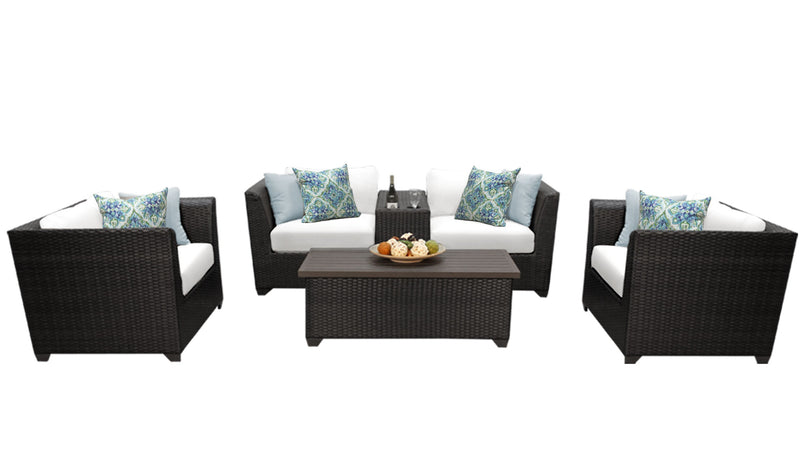 Barbados 6 Piece Outdoor Wicker Patio Furniture Set 06d