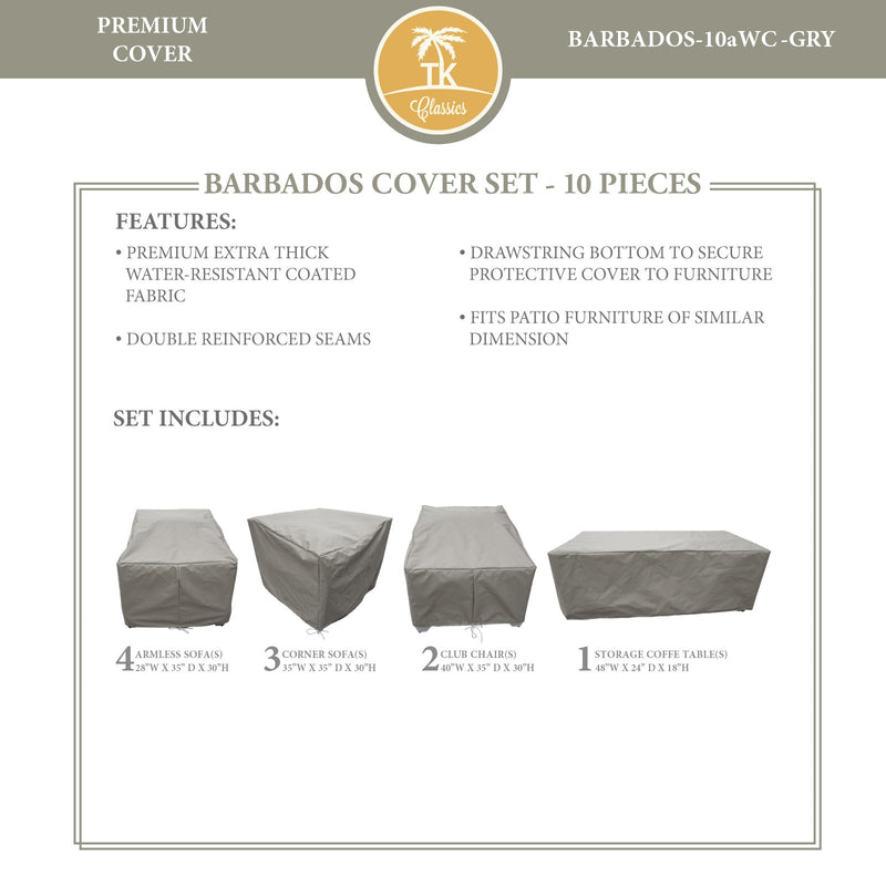 BARBADOS-10a Protective Cover Set, in Grey