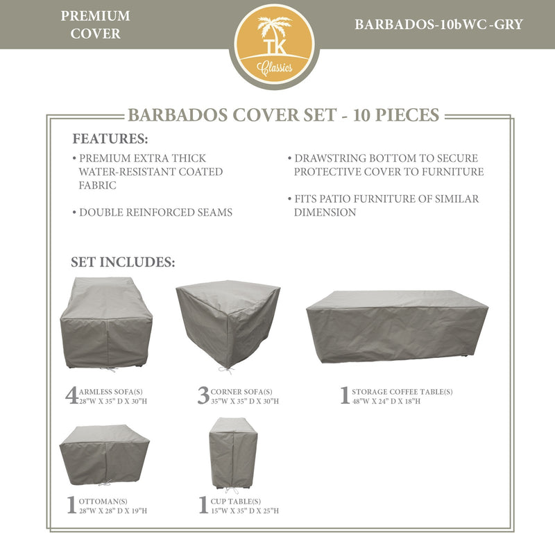 BARBADOS-10b Protective Cover Set, in Grey