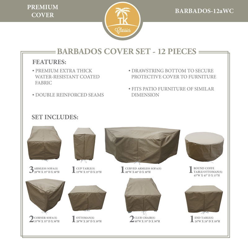 BARBADOS-12a Protective Cover Set, in Beige