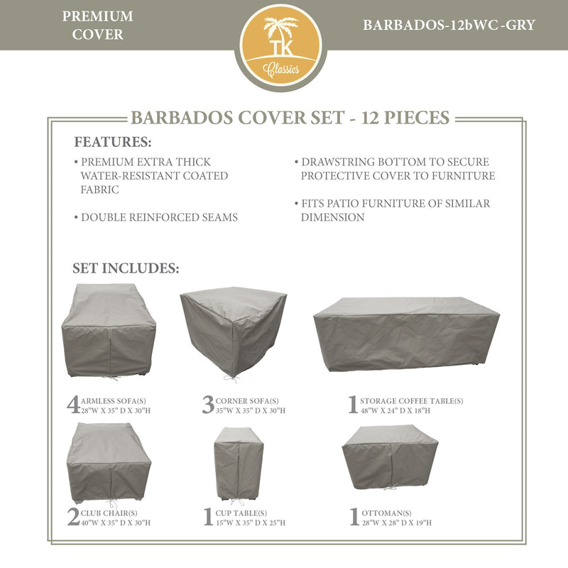 BARBADOS-12b Protective Cover Set, in Grey