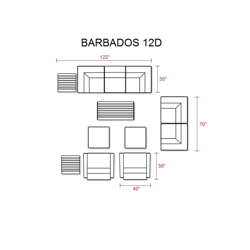 Barbados 12 Piece Outdoor Wicker Patio Furniture Set 12d
