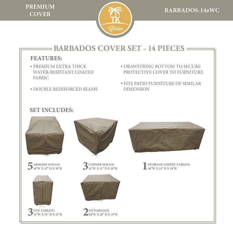 BARBADOS-14a Protective Cover Set, in Beige
