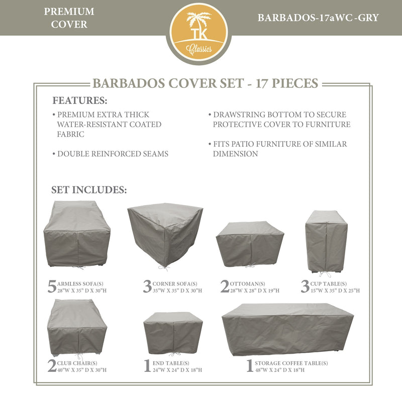 BARBADOS-17a Protective Cover Set, in Grey