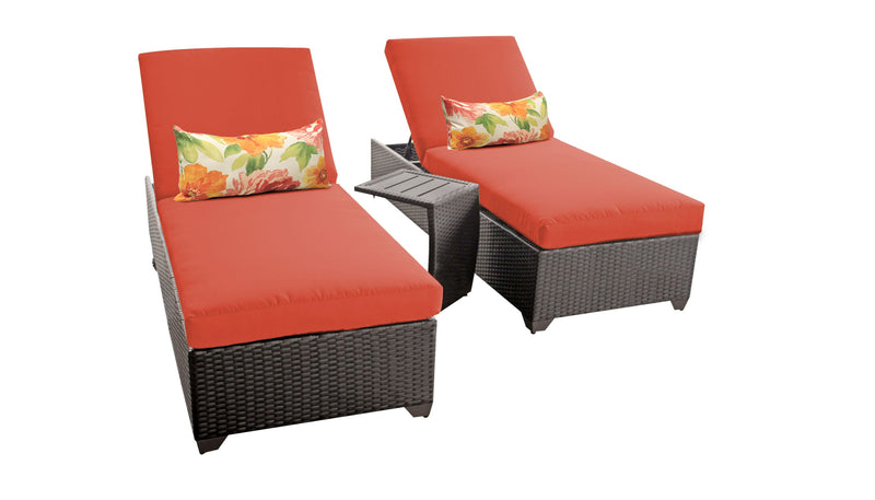 Barbados Chaise Set of 2 Outdoor Wicker Patio Furniture With Side Table