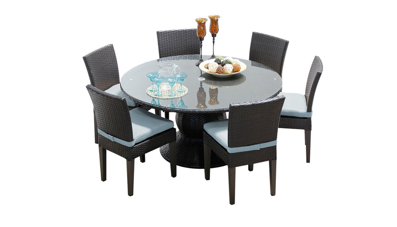 Barbados 60 Inch Outdoor Patio Dining Table with 6 Armless Chairs