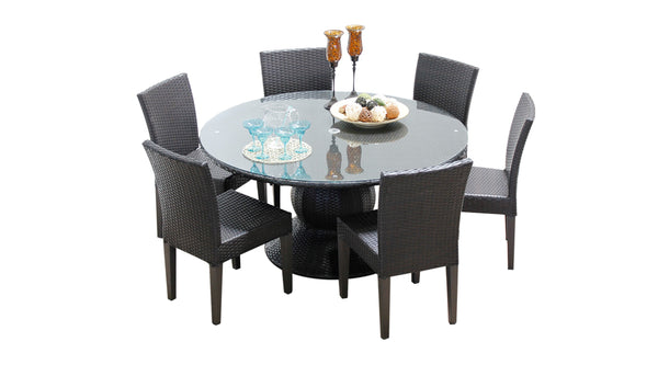 Barbados 60 Inch Outdoor Patio Dining Table with 6 Armless Chairs Without Cushion