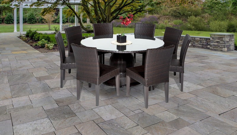 Barbados 60 Inch Outdoor Patio Dining Table with 8 Armless Chairs Without Cushions