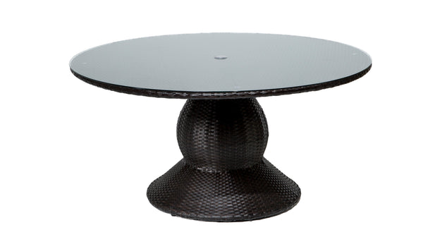 Barbados 60 Inch Round Wicker Outdoor Patio Dining Table