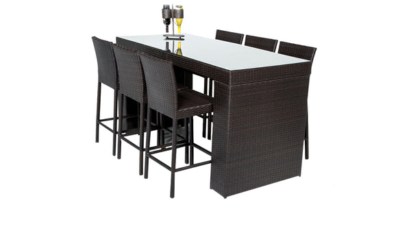 Barbados Bar Table Set With Barstools 7 Piece Outdoor Wicker Patio Furniture