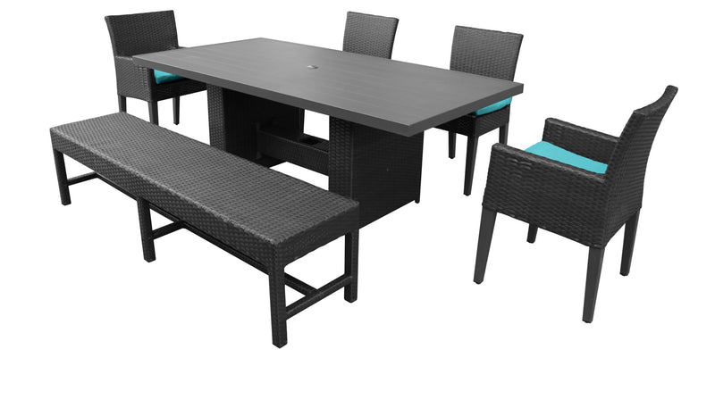 Barbados Rectangular Outdoor Patio Dining Table With 4 Chairs and 1 Bench