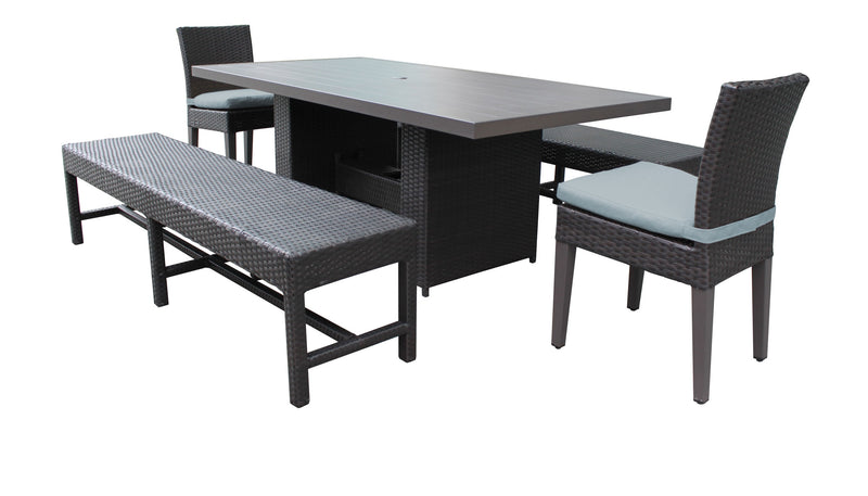 Barbados Rectangular Outdoor Patio Dining Table With 2 Chairs and 2 Benches