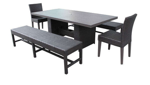 Barbados Rectangular Outdoor Patio Dining Table With 2 Chairs and 2 Benches Without Cuhions