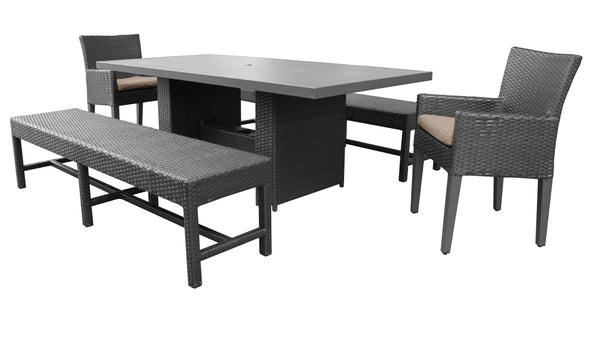 Barbados Rectangular Outdoor Patio Dining Table with 2 Chairs w- Arms and 2 Benches