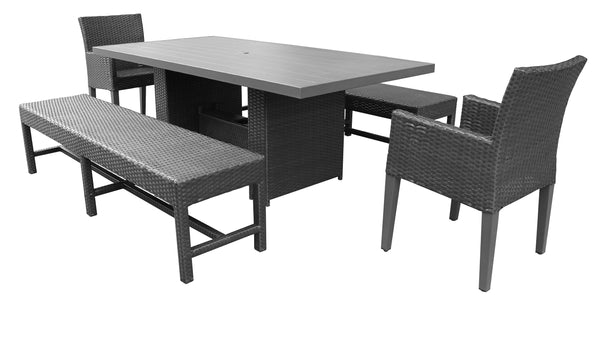 Barbados Rectangular Outdoor Patio Dining Table with 2 Chairs w- Arms and 2 Benches Without Cushions