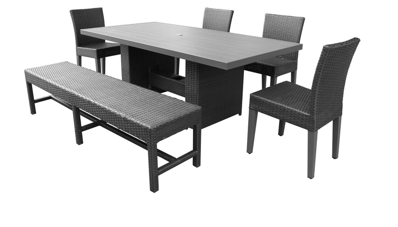 Barbados Rectangular Outdoor Patio Dining Table With 4 Chairs and 1 Bench Without Cushions