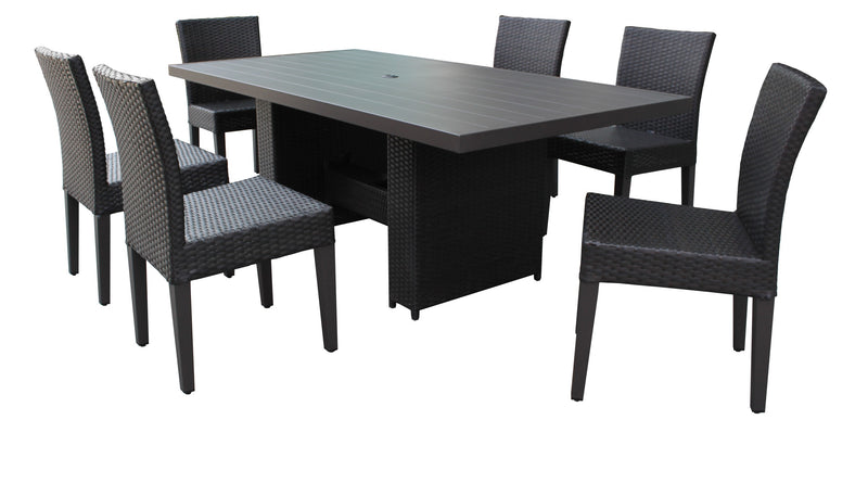 Barbados Rectangular Outdoor Patio Dining Table with 6 Armless Chairs Without Cushions