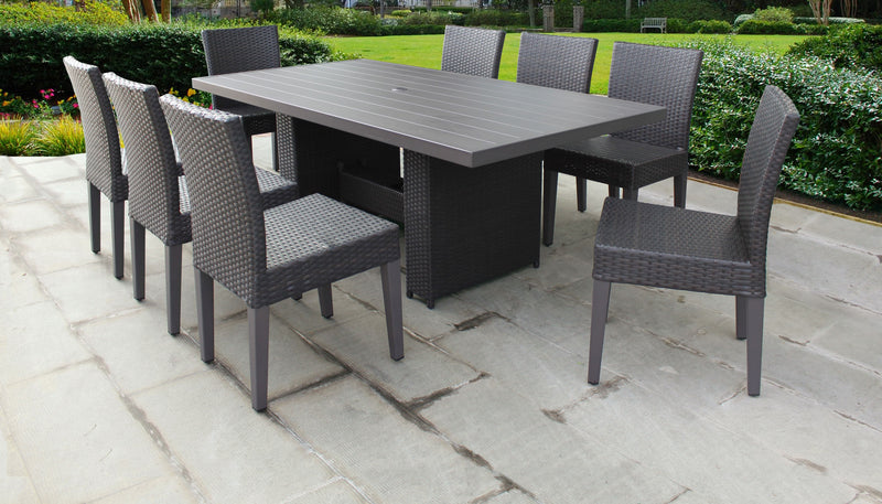 Barbados Rectangular Outdoor Patio Dining Table with 8 Armless Chairs Without Cushions