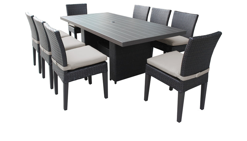 Barbados Rectangular Outdoor Patio Dining Table with 8 Armless Chairs