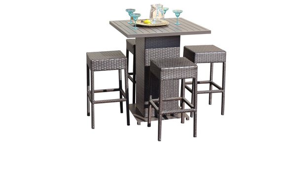 Barbados Pub Table Set With Backless Barstools 5 Piece Outdoor Wicker Patio Furniture