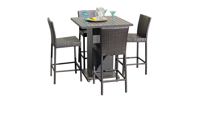 Barbados Pub Table Set With Barstools 5 Piece Outdoor Wicker Patio Furniture
