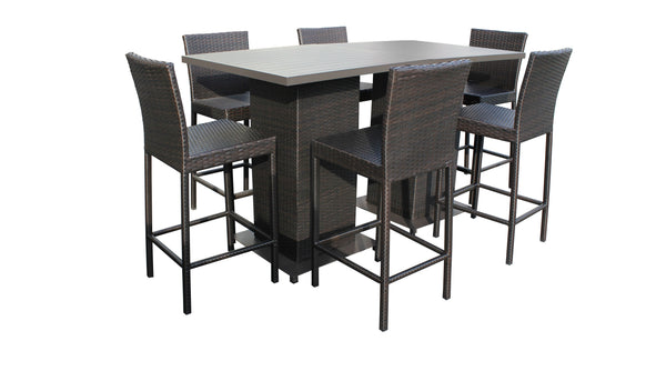 Barbados Pub Table Set With Barstools 8 Piece Outdoor Wicker Patio Furniture