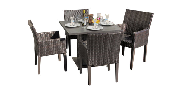 Barbados Square Dining Table with 4 Chairs Without Cushions