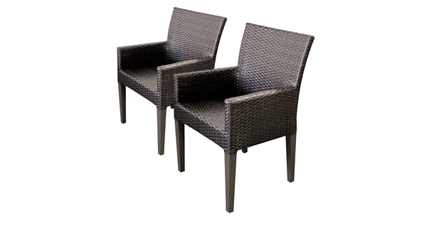 2 Barbados Dining Chairs With Arms Without Cushions