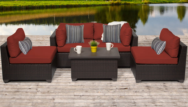 Belle 5 Piece Outdoor Wicker Patio Furniture Set 05c