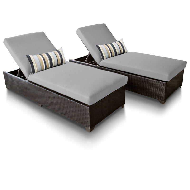 Classic Chaise Set of 2 Outdoor Wicker Patio Furniture