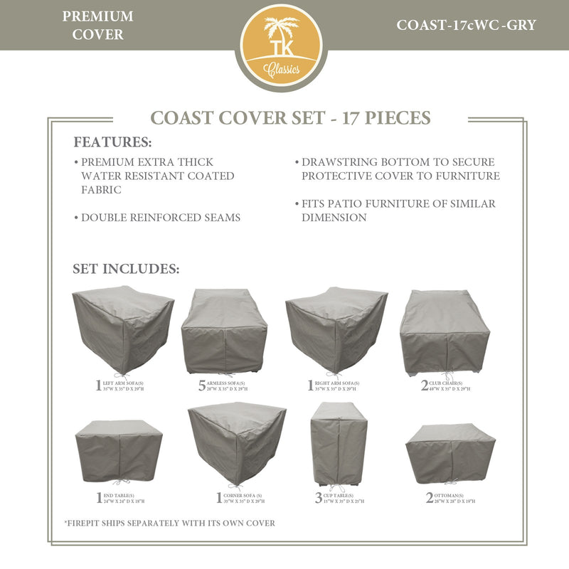 COAST-17c Protective Cover Set, in Grey