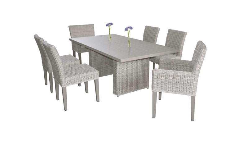 Coast Rectangular Outdoor Patio Dining Table with with 4 Armless Chairs and 2 Chairs w- Arms Without Cushions
