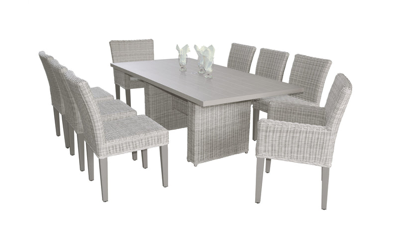 Coast Rectangular Outdoor Patio Dining Table with with 6 Armless Chairs and 2 Chairs w- Arms Without Cushions
