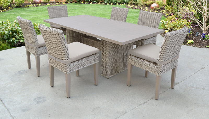 Coast Rectangular Outdoor Patio Dining Table with 6 Armless Chairs