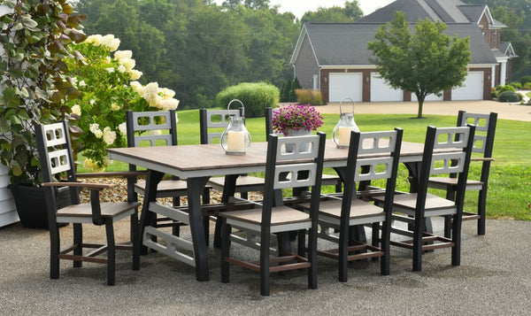 "David Lewis 94"" 9 Piece Manhattan Forge Dining Table Set with 8 Chairs"